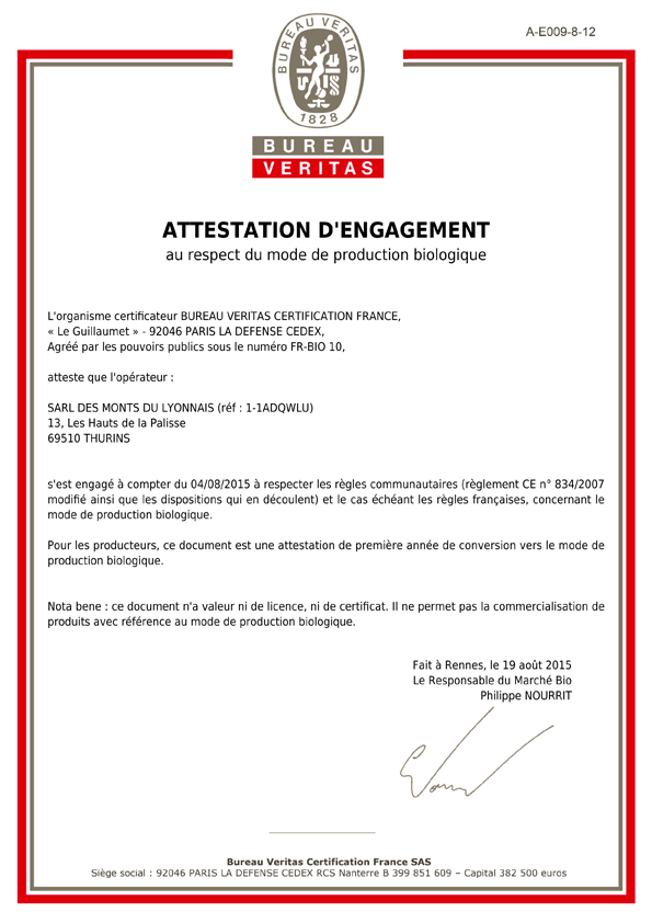 Attestation d'engagement